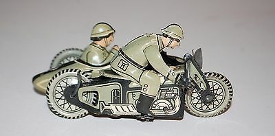 German Toy Motorcycle &Side Car- Tin Wind Up-  with Soldiers NO RESERVE