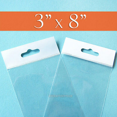 """100 Clear Cello Bags,3 x 8 Inch HANG TOP, Resealable Self Adhesive,OPP Poly 3x8"""""""