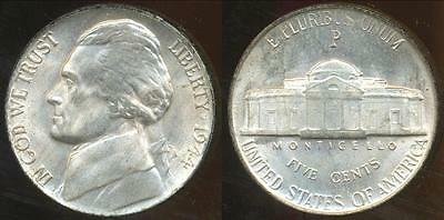 United States, 1944-P 5 Cents, Jefferson Nickel (Silver) - Uncirculated
