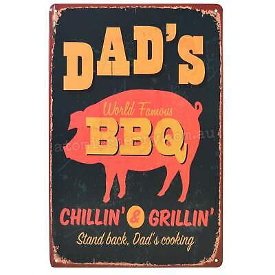 Dads BBQ Retro Metal Tin Sign Homewares Decor Kitsch Roast Grill Bar Party