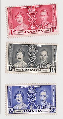 (LM24) 1937 Jamaica 3stamps Coronation MH