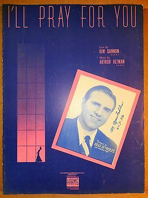 1942  Sheet Music - I'll Pray for You - cover photo of Brad Reynold Singer Star