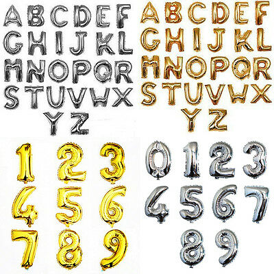 "16""/40"" Balloons Golden/Silver Foil Letter Number for Wedding Party Birthday 1PC"