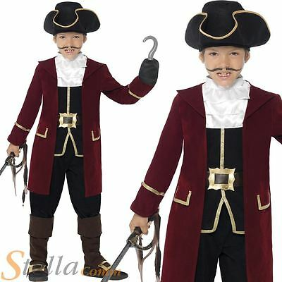 Boys Deluxe Pirate Captain Fancy Dress Costume Kids Hook Book Week Outfit