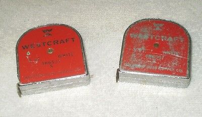 Tape Measure Westcraft Western Auto Vintage Metal 8 Ft Red Face Lot of 2 USA