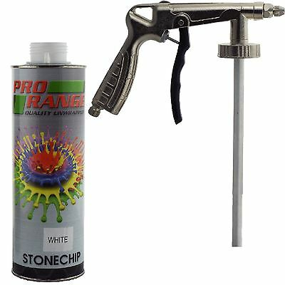 Pro Range 1 Litre White Stone Chip + Spray Gun Can be over Painted Paintable