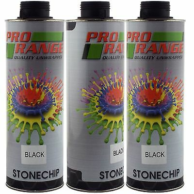 Pro Range 3 x 1 Litre Black Stone Chip Can be over Painted Paintable