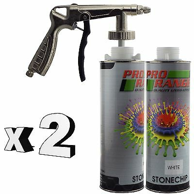 Pro Range 2 x 1 Litre White Stone Chip + Spray Gun Can be over Painted Paintable