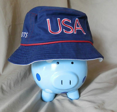 New Blue Official 2004 Athens USA Olympics Bucket Hat Cap, Roots LARGE free ship