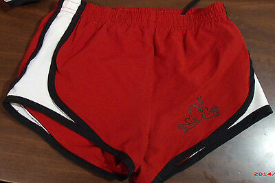 Peace Frogs Small  Youth Athletic Short Red With Black