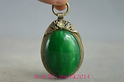 Collectible Handwork Tibet Silver Carving Flower Inlay Green Jade Noble Pendant
