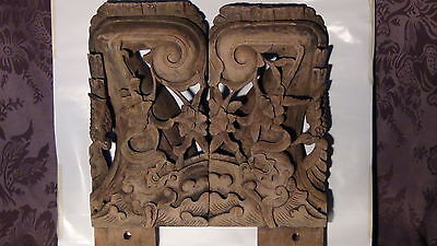 Pair Aantique 18C Chinese Wood Hand Carved Temple  Altar Architectural Elements