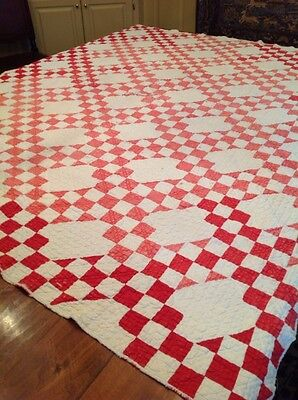 Lovely Vintage Antique Handmade Patchwork QuiltRed & White American