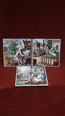 Set Of 3  Vintage Made In West Germany Hand Painted Glazed Ceramic Art Tiles