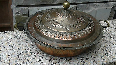 Antique 19C Tinned Copper Covered Fish Serving Platter Hand Crafted Early 1800