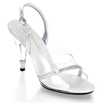"PLEASER CAR456/C/RS Sexy Instep Cutout Clear Slingback Sandals 4"" Evening Heels"