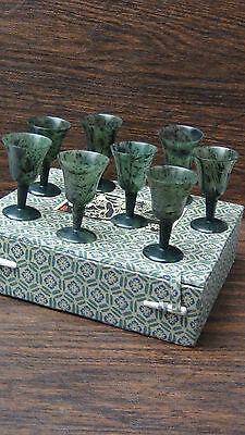 Set Of 8 Antique Chinese Hand Carved Jasper/Spinach Jade Wine Cups ,Original Box