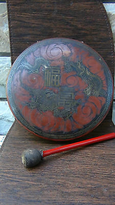 "19C Chinese Buddhish Bronze Okimono Temple Gong/bell ""dragon"" With Striker"