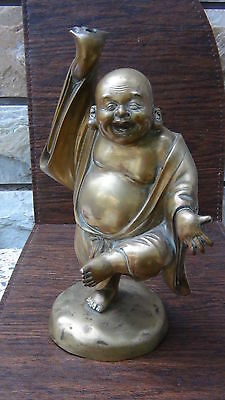 "Antique Chinese  Bronze Kung Fu Buddha  Statue , 13""H Drilled For Lamp"