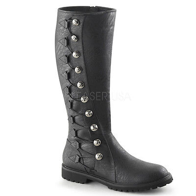 GOTHAM-109 MENS Renaissance Medieval Side Button Black Period Costume Knee Boots