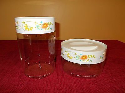Set of 2 Vintage Pyrex Corning Ware Wildflower Glass Canisters Jars