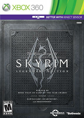 The Elder Scrolls V: Skyrim Legendary Edition  (Xbox 360, 2013) With Outer Box