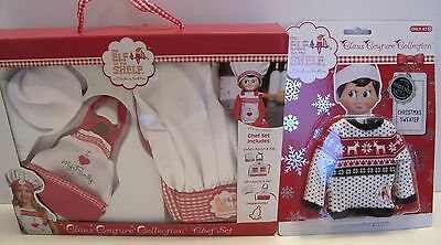 ELF ON THE SHELF Christmas NEW Claus Couture CHEF SET Matching Apron Kid Sweater