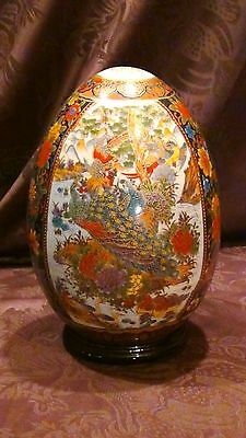 "Antique 19C Chinese Famille Rose Large Painted Egg ""Birds,Peacoks,Gooses,Ducks"""