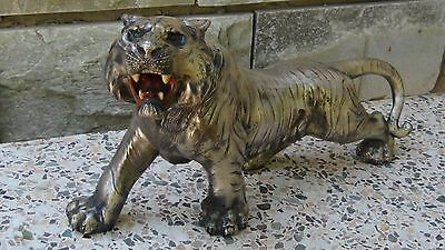 Antique 19C Chinese Large White Metal Tiger Statue