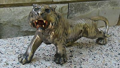 Antique 19C Chinese Large White Metal Tiger Statue ,marked
