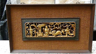 "Antique 19C Chinese Rosewood Hand Carved Gilt""village Scene"" Plaque Framed"