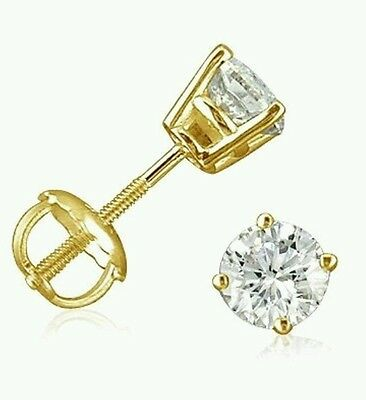 1.50 Carat Yellow Gold  Stud Earring Solid Real 14k With Screw Back