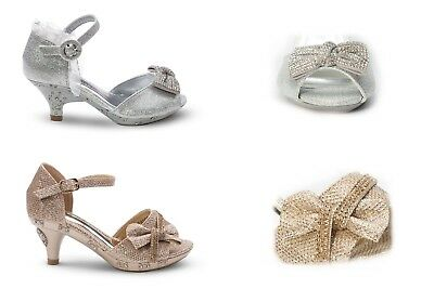 Girls Toddlers Youth Pageant Communion Wedding Little Heels Shoes Silver,Gold.