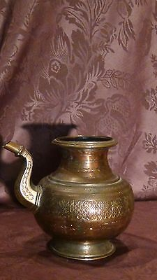 Antique 18C Islamic Copper Punjab Water Pitcher,jug Hand Engraved Islamic