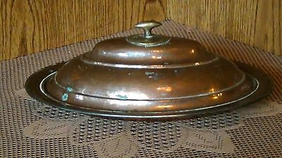 ANTIQUE 18c ISLAMIC COPPER SERVING OVAL DISH WITH LID, MARKED.