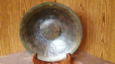 ANTIQUE 18c ISLAMIC PERSIAN BRONZE HAND HAMMERED GAJAR BRONZE CEREMONY BOWL SIGN
