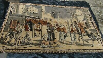 "Antique Persian Islamic Silk Rug Street Market Scene 49"" X 77"""