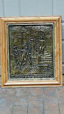ANTIQUE 18c FRENCH REPOUSSE HAMMERED HIGH RELIEF BRASS COURT SCENE WALL PLAQUE