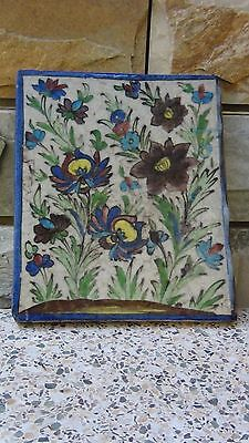 "ANTIQUE 18c-19c ARABIC ISLAMIC POTTERY GLAZED ""FLOWERS"" WALL PLAQUE"