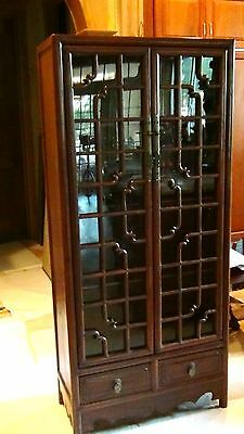 ANTIQUE 19c CHINESE WALNUT WOOD CARVED CURIO CABINET W/WOOD SHELVES,GLASS DOOR