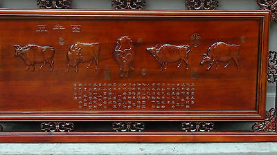 Antique   Chinese Rosewood Hand Carved ,Pierced 5 Oxen Wall Plaque