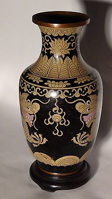 "Antique 17C- 18C Chinese Old Cloisonne Enamel Vase ""Two Dragons And Pearl"" #2"