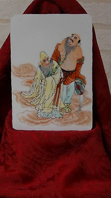Antique 19C Chinese  Famille Rose Porcelain  Hand Painted Plaque