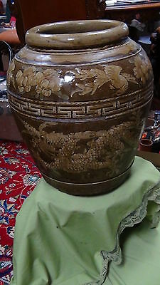 Large Antique Early 19C Chinese Dragons & Gooses Pottery Jar/Vase  Glazed