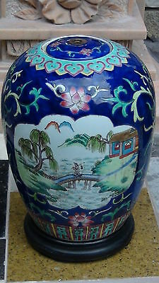 Antique 19C Chinese Polychrome Lided Medalions Vase With Stand 6 Characters Mark