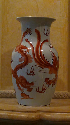 Antique 19C Chinese Baluster Hand Painted Porcelain Vase Dragons&Phoenixes Fight