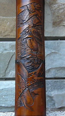 "Antique 19C Chinese Hand Carved Bamboo Wall Plaque ""Eagle"",Signed By Artist"