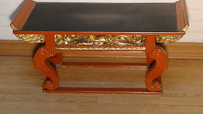 Antique Chinese Gold Gilt Carved Altar Table With Pheasant And Flowers Carving