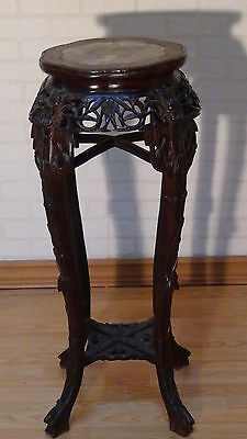 Antique Chinese Rosewood Hand Carved Planter Stand With The Marble Top