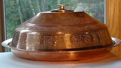 Large Antique Persian Islamic Copper Lided Serving Bowl W /etched Floral Design